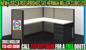 5x5 Refurbished Hemran Miller Cubicle For Sale In Austin, San Antonio, Dallas, Houston, Woodlands, Lake Jackson & Galveston, Texas